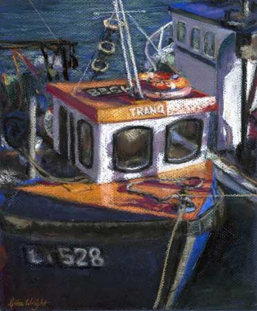 Blue and Orange Fishing Boat, Pastel