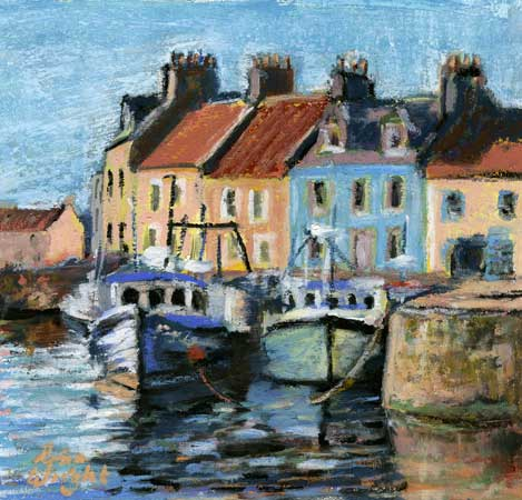 Boats At Pittenweem, Oil Pastel