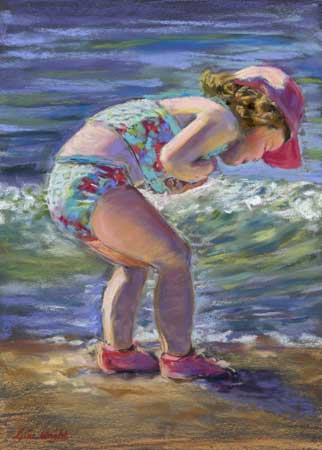 Collecting Shells, Pastel