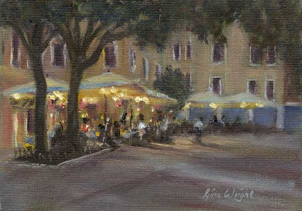 Evening Cafe, Venice, Oil on Panel