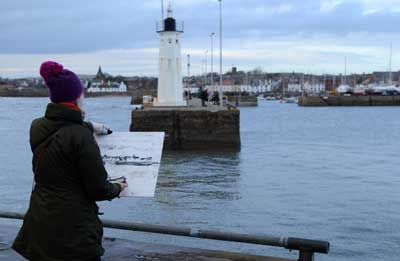 Gina working at Anstruther harbour