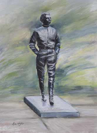 Jim Clark Statue At Kilmany, Pastel