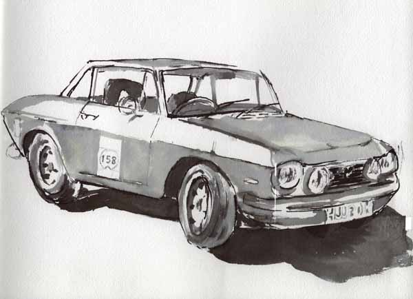 Lancia Fulvia, Ink Sketch