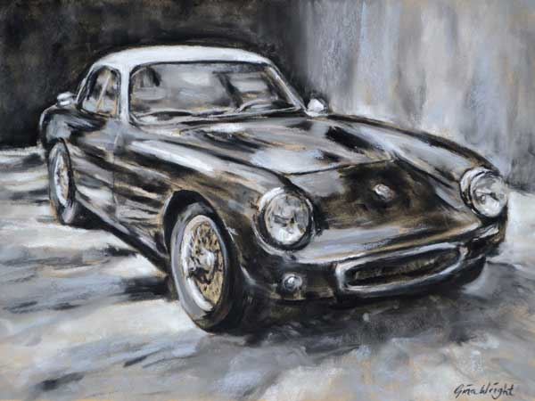 Lotus Elite Type 14 painting in pastel