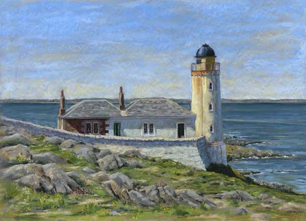 A lighthouse and attached cottages above the sea
