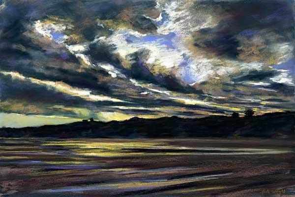 Low Tide, Lunan Bay, Pastel