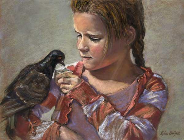 Girl feeding a pigeon on her arm