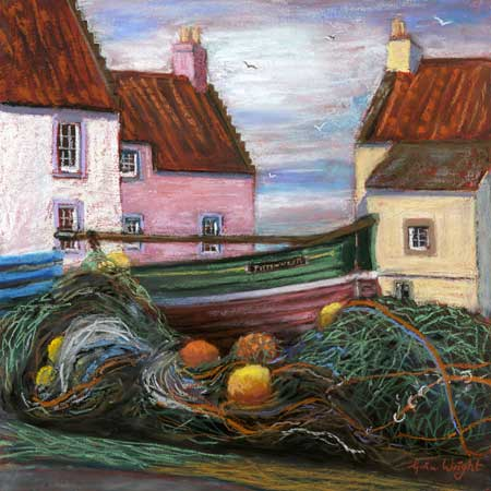 Nets And Boat, Pittenweem, Pastel On Panel