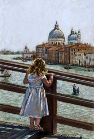 The Golden Haired Girl In Venice, Pastel