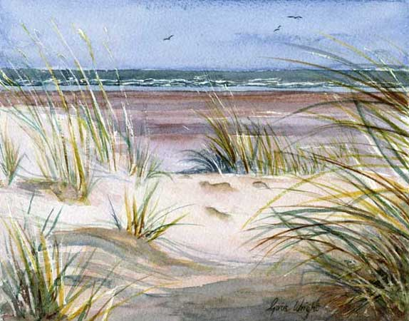 Through The Sand Dunes, St. Andrews, Watercolour