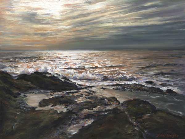 Waves At Elie, Pastel On Panel