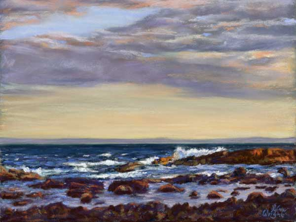 Waves At Sunset, Pastel