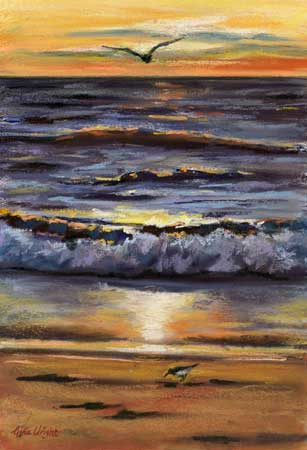 Waves At Sunset, Pastel over Acrylic