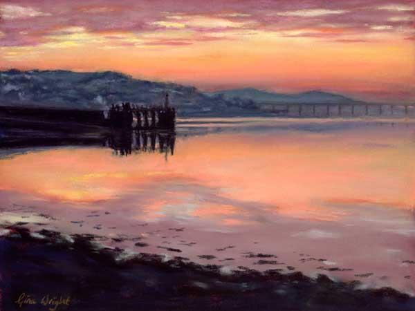 Winter Sunset, Newport On Tay, Pastel